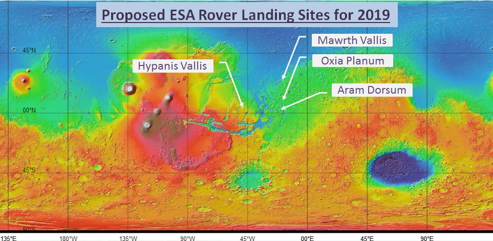 ESA Mars Rover proposed sites for 2019